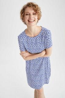 Woman BLUE Short Sleeve Woven Dress-40