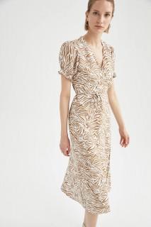 Woman CAMEL Short Sleeve Woven Dress-42