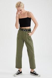 Woman DARK KHAKI Trousers-40