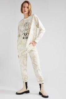 Woman ECRU Knitted Trousers-3XL