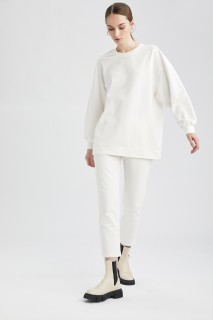 Woman ECRU Knitted Trousers-L