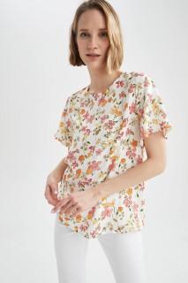 Woman ECRU Short Sleeve Blouse-S