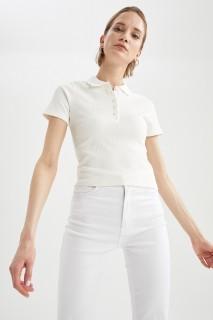 Woman ECRU Short Sleeve Polo T-Shirt-XL