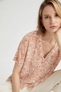 Woman ECRU Short Sleeve Shirt-L