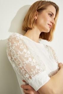 Woman ECRU Short Sleeve T-Shirt-3XL