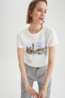 Woman ECRU Short Sleeve T-Shirt-L