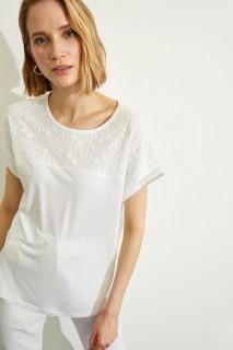 Woman ECRU Short Sleeve T-Shirt-S
