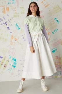 Woman ECRU Woven Skirt-36