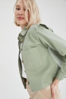 Woman GREEN Long Sleeve Shirt-XS
