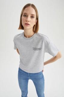 Woman GREY MELANGE Short Sleeve T-Shirt-L