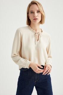 Woman Long Sleeve Blouse LT.YELLOW- S