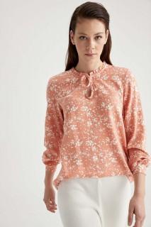 Woman Long Sleeve Blouse ORANGE-  S