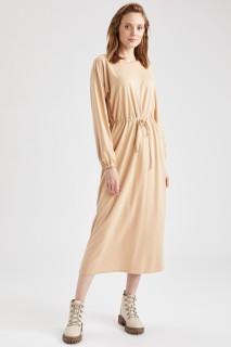 Woman Long Sleeve Knitted Dress BEIGE- S