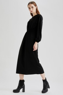 Woman Long Sleeve Knitted Dress BLACK- S
