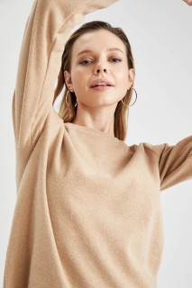Woman Long Sleeve Knitted Tunic SAND- S