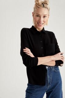 Woman Long Sleeve Shirt BLACK- XS