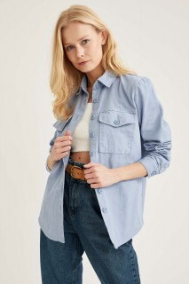 Woman Long Sleeve Shirt BLUE- XS