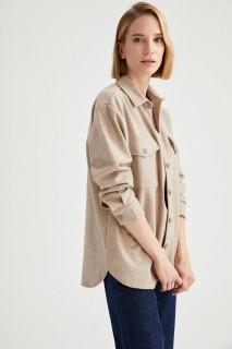 Woman Long Sleeve Shirt ECRU- S