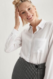 Woman Long Sleeve Shirt WHITE- S