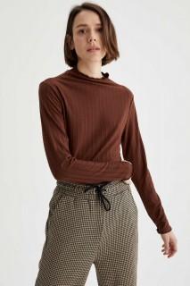 Woman Long Sleeve T-Shirt BROWN- XS