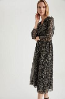 Woman Long Sleeve Woven Dress BLACK- 44