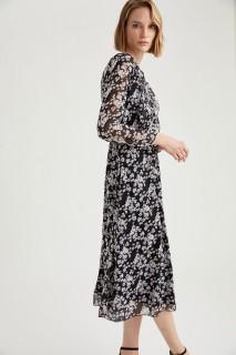 Woman Long Sleeve Woven Dress LILA-350-13- 44