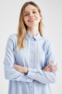 Woman Long Sleeve Woven Tunic BLUE- S