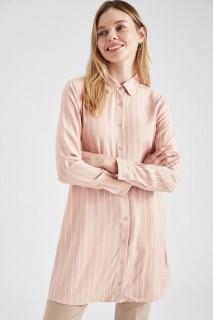 Woman Long Sleeve Woven Tunic ROSE- S
