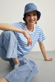 Woman LT.BLUE Short Sleeve T-Shirt-S