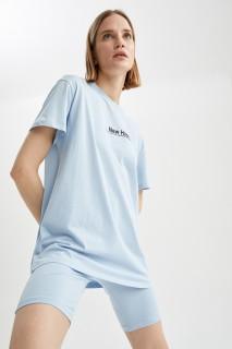 Woman LT.BLUE Short Sleeve T-Shirt-XL