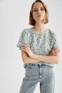 Woman LT.GREEN Short Sleeve Blouse-M