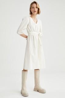 Woman OFF WHITE Short Sleeve Woven Dress-36