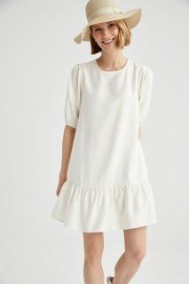 Woman OFF WHITE Short Sleeve Woven Dress-40