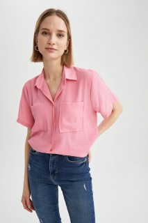 Woman PINK Short Sleeve Shirt-L