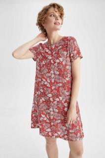 Woman RED Short Sleeve Woven Dress-36