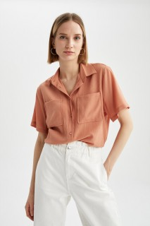 Woman SALMON Short Sleeve Shirt-XL