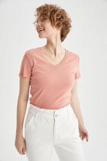Woman SALMON Short Sleeve T-Shirt-L