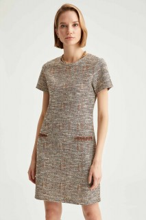 Woman Short Sleeve Knitted Dress BEIGE- S