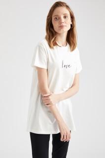 Woman Short Sleeve Tunic ECRU- S