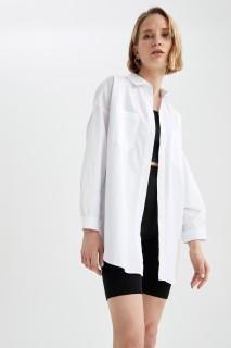 Woman WHITE Long Sleeve Shirt-L