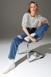 Woman WHITE Short Sleeve Blouse-S