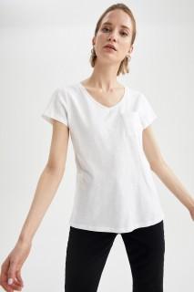 Woman WHITE Short Sleeve T-Shirt-M