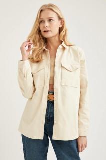 WomanLong Sleeve Shirt LT.STONE- XS