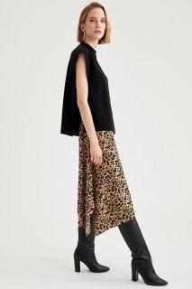 Women Beige Knitted Skirt-XS