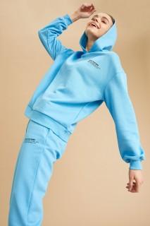 Women's Knitted Sweat Shirt BLUE -XS