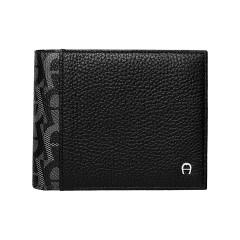Black Leather A Logo Gent Wallet 110 x 85 x 15