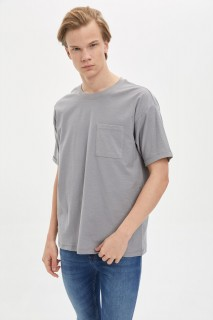 Defacto Men Knitted Gri GR381 T-Shirt -XXSmall
