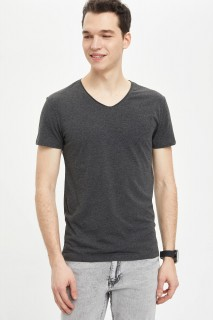 Defacto Men Knitted Anthra Melange AR160 T-Shirt -Xsmall