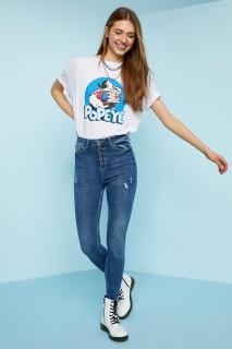 Defacto Women Woven Mid Blue NM28 Jeans -24