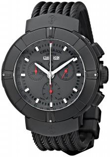 Charriol Mens Celtica Grey Dial Black Rubber Strap Chrono Watch C44BM.173.004